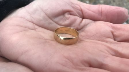 Ingrid Fleetcroft holding her engraved wedding ring which was found 6 days after she lost it on Over