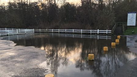 Half of the River Yare pub car park in Brundall had been flooded. Picture: Joe Norton
