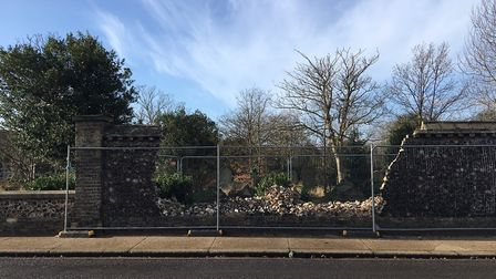 The gaping hole in the wall at Great Yarmouth's old cemetery on North Denes Road. Picture: Joe Norto