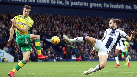 Jay Rodriguez of West Bromwich Albion and Christoph Zimmermann of Norwich in action during the Sky B