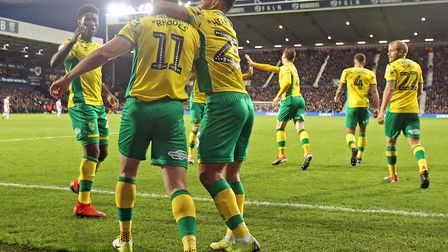 Jordan Rhodes takes the congratulations after earning Norwich City a point at West Brom Picture: Pau