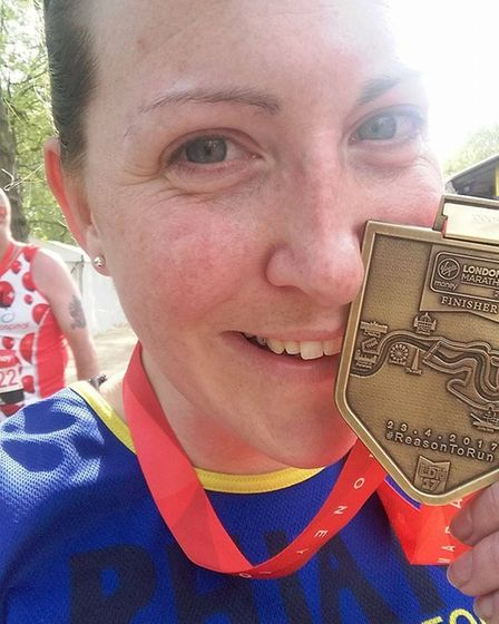 Rhianwen Smee with her London Marathon medal.Photo: submitted