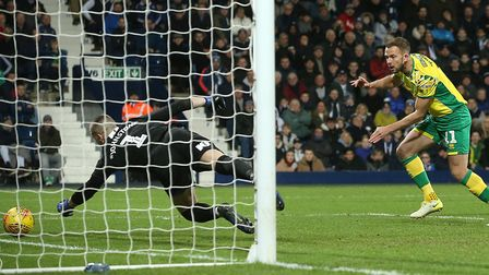 Jordan Rhodes earned Norwich City a hard-fought point with his first touch at West Brom. Picture: Pa