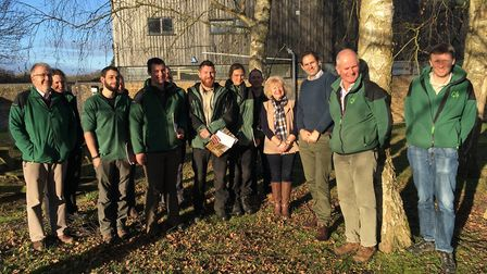New apprentices alongside Forestry Commission staff. Picture: Conor Matchett
