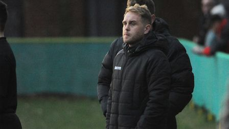 Cedric Anselin, manager Norwich United, during the match against Gorleston. Picture: DENISE BRADLEY