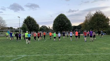 A cooling down session with the Alf Tupper Run Group in Eaton Park. Picture: Neil Featherby