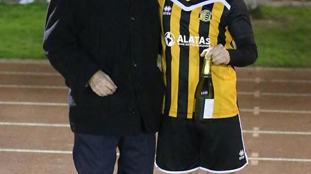 Great Yarmouth Town's man-of-the-match Charlie Bartram with club chaplain Arthur Bowles Picture: STE