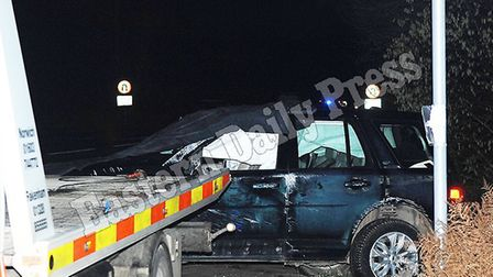 The Duke of Edinburgh's car after it was involved in a collision at Babingley, near King's Lynn on T