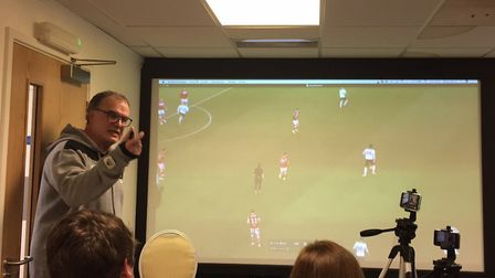 Leeds United manager Marcelo Bielsa telling the world what he wanted it to know Picture: PA