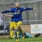 Kings Lynn Town's Chris Henderson celebrates a goal at The Walks - Lynn will be hoping for more smil