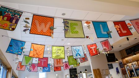 The launch of the Wells Community Tapestry at Wells Maltings. The tapestry in the Cafe.. Picture: Ma