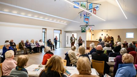The launch of the Wells Community Tapestry at Wells Maltings. The tapestry in the Clore Community St
