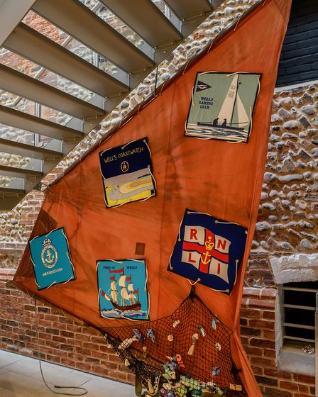 The launch of the Wells Community Tapestry at Wells Maltings. The tapestry under the stairs. Picture
