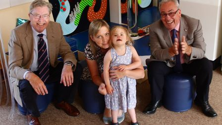 Stephen Allan and Mike Spalding, from Norfolk Freemasons meeting Charlotte and her daughter Grace.
