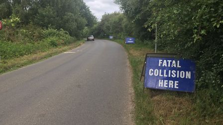 Scene where cyclist killed in crash at Swannington. PIC: Peter Walsh