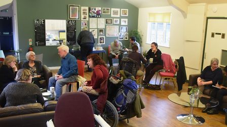 People enjoying the café at the New Hope Christian Centre, which is one of the Norwich Foodbank's di
