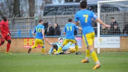 Action from King's Lynn Town's win over Barwell Picture: Tony Thrussell