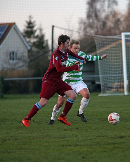 Action from Thetford Town's win at Framlingham Town Picture: Dean Warner