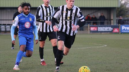 Action from Dereham's home draw against Aveley Picture: Alan Palmer Photography