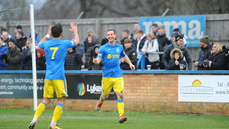 King's Lynn Town's scorers Michael Clunan, left, and Adam Marriott during the home win over Barwell