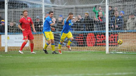 Adam Marriott turns away after opening the scoring for King's Lynn Town against Barwell Picture: Ton