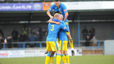 Celebration time for King's Lynn Town during the home win over Barwell Picture: Tony Thrussell