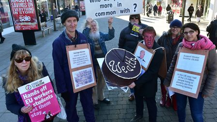 Members of the Stand Up To Racism group in Lowestoft Town centre. PHOTO: Nick Butcher