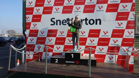 Helen Davies celebrates her 10K win at Snetterton. Picture: Mark Armstrong