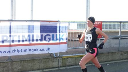 Norwich Road Runners' Amy Beck was first lady in the 5K. Picture: Mark Armstrong