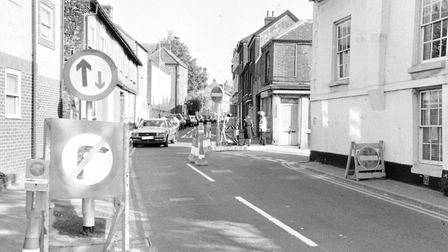 Traffic problems in King Street pictured in 1990, which were resolved when it was later completely p