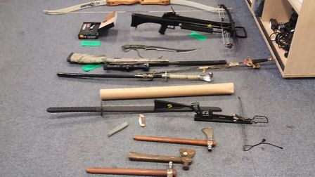 Stash of weapons seized by police from Earlham property. PIC: Norwich Police Twitter.