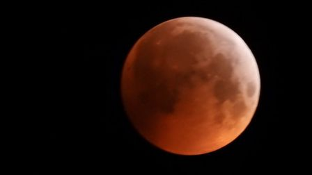 Super blood moon rising above the UK. Picture: Nigel Pickover