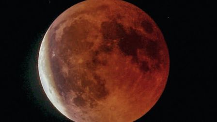 The super blood moon above Ranworth this morning. Picture: Mel Westgate