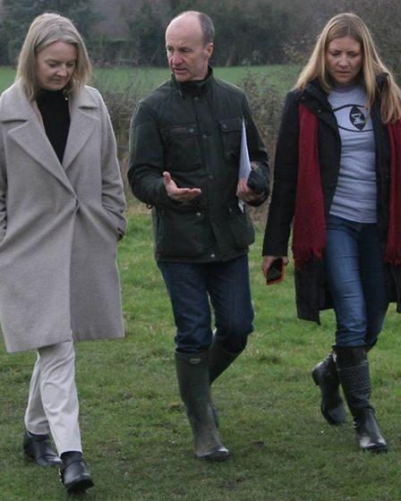 MP Elizabeth Truss and members of Campaigners against two silica sites (CATSS) walk the public footp