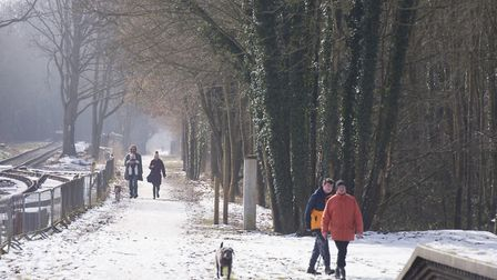 Walkers in Reepham enjoy the sunshine that is now begining to thaw the snow and ice.Picture: Nick Bu