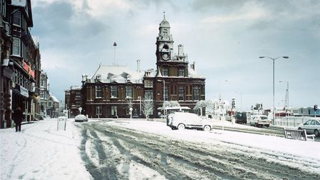 Great Yarmouth Town Hall in the snow, by J Fisk.