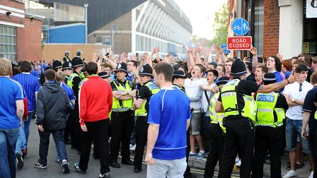 Police keeping Ipswich supporters away from travelling Norwich fans at a previous derby at Portman R