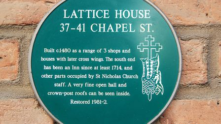 A plaque on the wall records the building's history as the Lattice House Picture: Chris Bishop