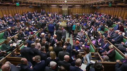 MPs gather ahead of the result of a vote on Labour MP Yvette Cooper and Conservative MP Nick Boles a
