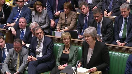 Prime Minister Theresa May addresses MPs following the results of voting on Amendments put forward b