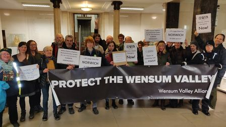 Environmental campaigners at a meeting of Norwich City Council on January 29. Photo: Andrew Boswell