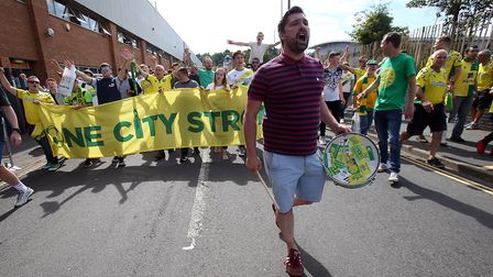 The Norwich fans take part in a march before the Sky Bet Championship match at Carrow Road, NorwichP
