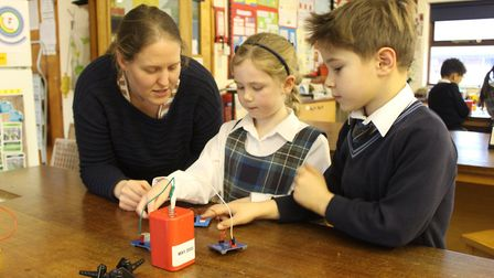 Year 2 at Hethersett Old Hall School have been learning how to build circuits. Photo: Hethersett Old
