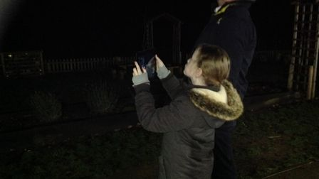 Year 5 students from Mulbarton Primary taking part in a 'Stargazing' evening at the school. Photo: M