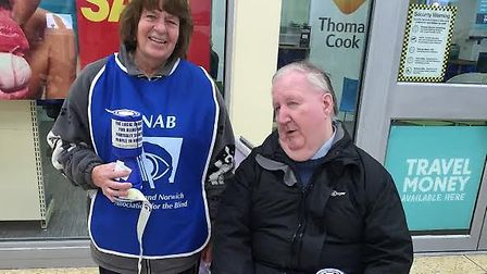 Volunteers for the Norfolk and Norwich Association for The Blind (NNAB) collecting money for the cha