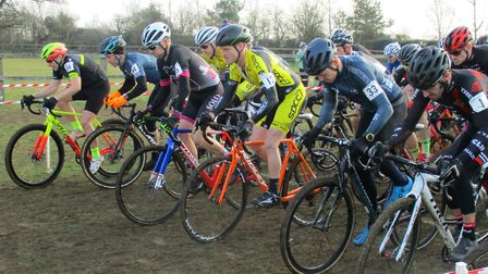 The start of the Veterans 40-49 racet at the Iceni Velo cyclo-cross at Snetterton Picture: Fergus Mu