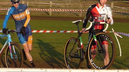 Senior leaders – winner James Madgwick (right) and Cam Hurst at the Iceni Velo cyclo-cross at Snette