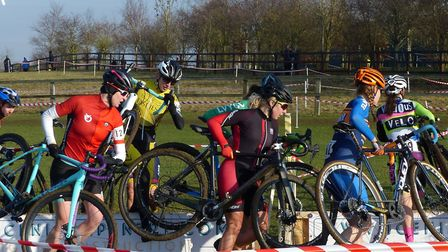 The women's field negotiates the double hurdles at the Iceni Velo cyclo-cross at Snetterton Picture: