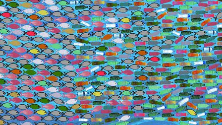 Exhibition inspired by Norfolk's great barrier reef. Great Human Achievements No.46 by Rainie Kay.