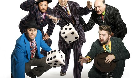 From left: Joseph Betts as Nicely-Nicely Johnson, Craig Loxston as Benny Southstreet, Phil Ormerod a